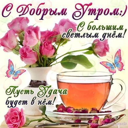 Красивая лучшая бесплатная открытка с поздравлением с добрым утром! Розы и зелёный чай Тебе! Красивые открытки бесплатно! скачать открытку бесплатно | pozdravok.qwestore.com