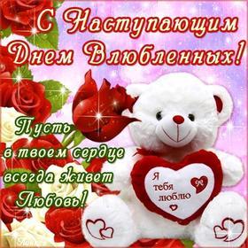 Красивая лучшая бесплатная открытка с поздравлением, лучшая бесплатная открытка с поздравлением, 14 февраля, День Святого Валентина, валентинка, мишка. Открытки  Красивая лучшая бесплатная открытка с поздравлением, лучшая бесплатная открытка с поздравлением, 14 февраля, День Святого Валентина, валентинка, мишка, поздравление скачать бесплатно онлайн! Скачать красивую картинку на праздник онлайн! скачать открытку бесплатно   pozdravok.qwestore.com