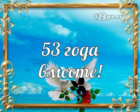 С годовщиной свадьбы 53 года! Заводная, дивная, веселая бесплатная открытка с поздравлением, поздравительная картинка, плейкаст! Красивые открытки бесплатно! скачать открытку бесплатно   pozdravok.qwestore.com