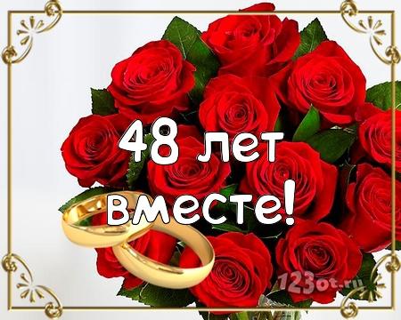 С годовщиной свадьбы 48 лет! Бесценная, уникальная, знойная бесплатная открытка с поздравлением, поздравительная картинка, плейкаст! Красивые открытки бесплатно! скачать открытку бесплатно | pozdravok.qwestore.com