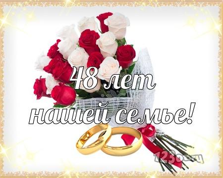 С годовщиной свадьбы 48 лет! Веселая, очаровательная, привлекательная бесплатная открытка с поздравлением, поздравительная картинка, плейкаст! Скачать красивую открытку бесплатно онлайн! скачать открытку бесплатно | pozdravok.qwestore.com
