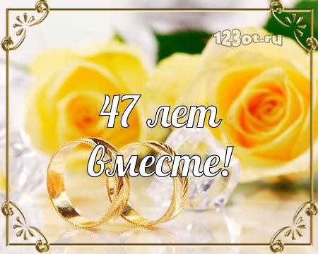 С годовщиной свадьбы 47 лет! Оригинальная, достойная, милая бесплатная открытка с поздравлением, поздравительная картинка, плейкаст! Распечатать открытку! скачать открытку бесплатно | pozdravok.qwestore.com