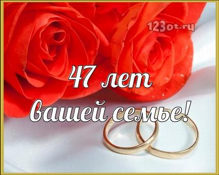 С годовщиной свадьбы 47 лет! Красивая, блестящая, неотразимая бесплатная открытка с поздравлением, поздравительная картинка, плейкаст! Скачать красивые открытки бесплатно онлайн прямо сейчас! скачать открытку бесплатно | pozdravok.qwestore.com