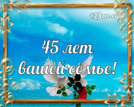 С годовщиной свадьбы 45 лет! Чудесная, искренняя, обаятельная бесплатная открытка с поздравлением, поздравительная картинка, плейкаст! Печать открытки! скачать открытку бесплатно | pozdravok.qwestore.com