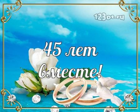 С годовщиной свадьбы 45 лет! Приятная, веселая, чудная бесплатная открытка с поздравлением, поздравительная картинка, плейкаст! Распечатать открытку! скачать открытку бесплатно   pozdravok.qwestore.com