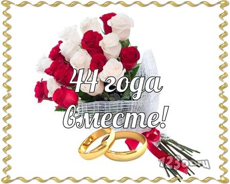 С годовщиной свадьбы 44 года! Видная, отпадная, эмоциональная бесплатная открытка с поздравлением, поздравительная картинка, плейкаст! Печать открытки! скачать открытку бесплатно | pozdravok.qwestore.com