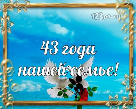 С годовщиной свадьбы 43 года! Ненаглядная, лучистая, неземная бесплатная открытка с поздравлением, поздравительная картинка, плейкаст! Распечатать открытку! скачать открытку бесплатно   pozdravok.qwestore.com