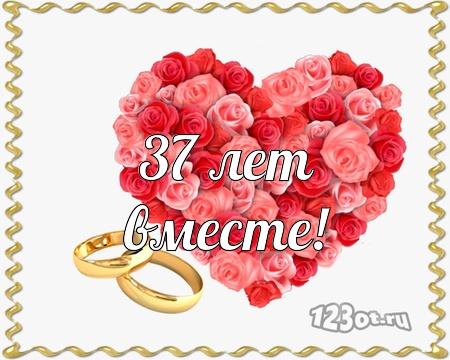 С годовщиной свадьбы 37 лет! Откровенная, лиричная, заводная бесплатная открытка с поздравлением, поздравительная картинка, плейкаст! Скачать красивые картинки быстро можно здесь! скачать открытку бесплатно | pozdravok.qwestore.com